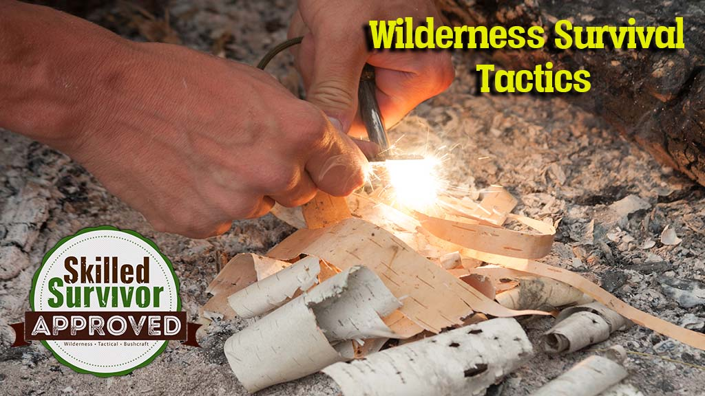 Lighting a camp fire with a flint and steel, using birch bark as tinder